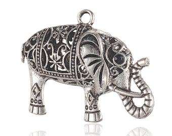 Pendant or large 3d elephant charm silver eyes black