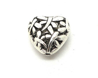 3d worked filigree antique silver heart charm