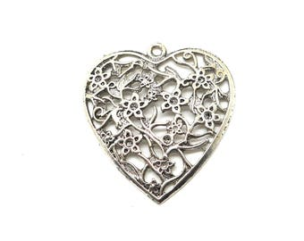 large silver metal flowers and heart charm or pendant