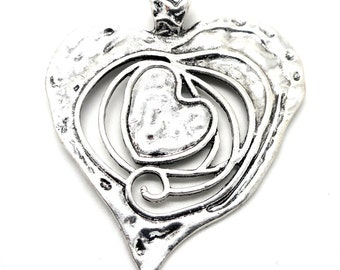Very large silver heart pendant
