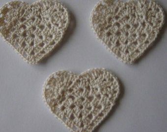 set of 3 hearts Ecru crocheted height 4.5 cm