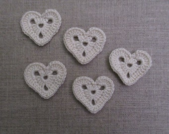 set of 5 hearts perforated Ecru crocheted height 2.5 cm
