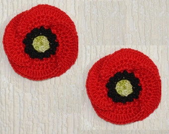 set of 2 poppy red, black and lime green crochet