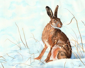 Hare in the Snow - Original by Nicholas Clack
