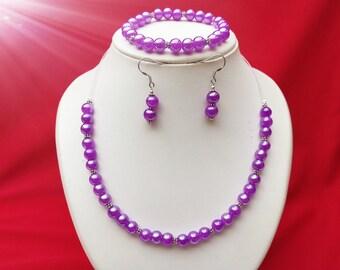 purple pearl violet jewelery set