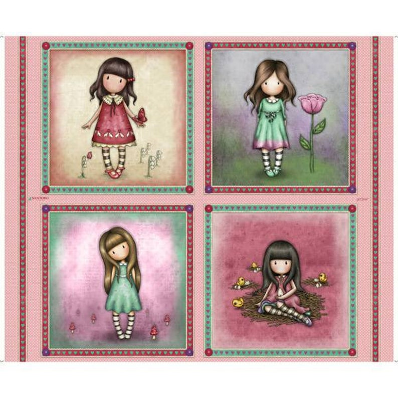 Santoro Truly Gorjuss fabric panel with 8 vignettes and 4 image 0