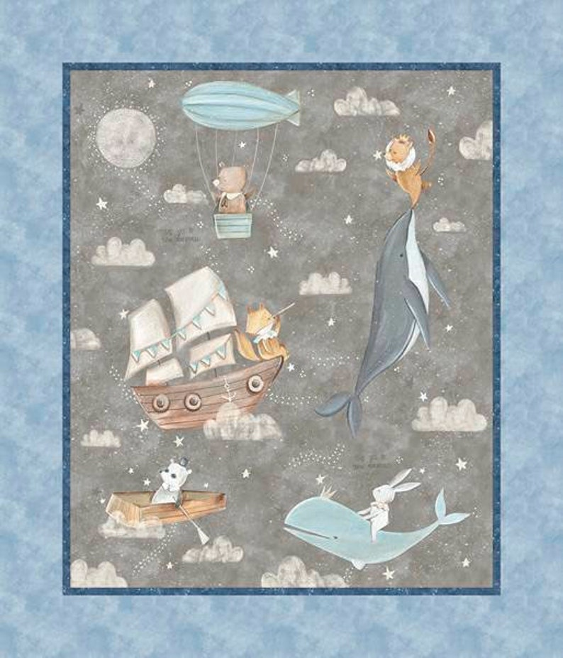 Baby couture: teddy bear-themed fabric panel rabbits whales image 0