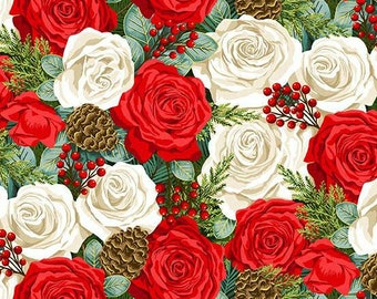 Christmas patchwork fabric depicting roses, pine cones, holly. Classic Foliage collection distributed by Makower. 100% cotton.
