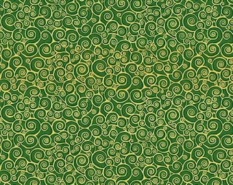 Patchwork fabric representing golden scrolls on a green background. Classic Foliage collection distributed by Makower. 100% cotton.