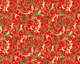 Christmas patchwork fabric representing scrolls on a red background. Classic Foliage collection distributed by Makower. 100% cotton.