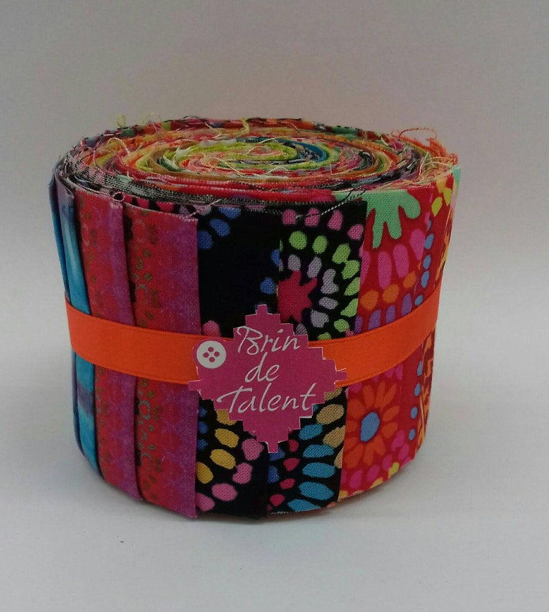 Quilt Roll Burano  Jelly roll precut very colorful red image 0