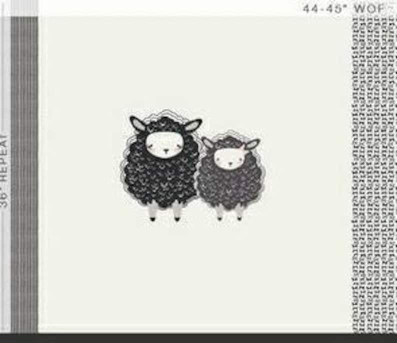 Children themed sheep in black and white fabric Panel / image 0