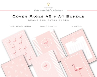 Printable PLANNER COVER, printable planner inserts A5 + A4, cover pages printable, binder covers pdf, Planner pages, cover pink, flamingo