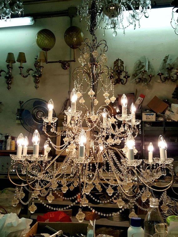 Drop Chandelier in Green Clear glass Original Murano Glass OMG