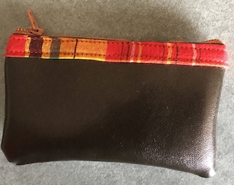 Small coin purse faux leather and madras
