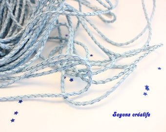 2 m cord braided faux leather 3mm blue