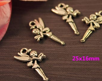 Set of 20 charms silver Charms 25x16mm Elf girl