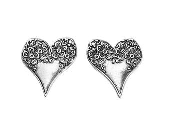 10 charms 28x26mm silver flowers - SC0095949 - Heart Charm