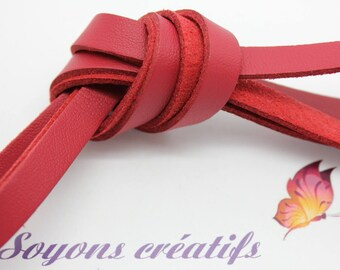 Red 8mm - creating jewelry leather strap 1 m