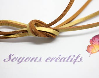Gold 3mm - creating jewelry leather strap 1 m