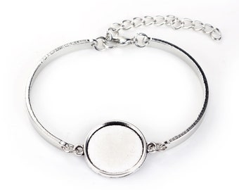 1 cabochon 18mm - creating jewelry - silver bracelet holder