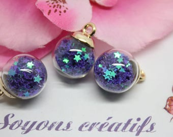5 pendants Globe in glass gold star purple - 22x16mm-