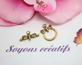 1 Dragonfly 19x13mm - SC0081628 - antique gold Toggle clasp