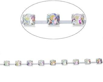 1 m silver rhinestone chain 4 mm-SC69488 - creating jewelry-