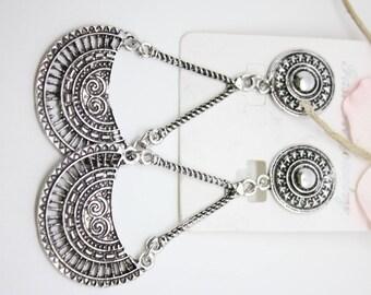 Beautiful earrings vintage style retro - 8x3.6cm