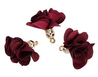 10 charms - 27x25mm - Polyester - Bordeaux red gold tassels