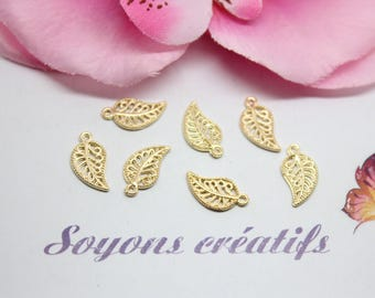 10 charms Charm gold leaf-14x8mm creating jewelry