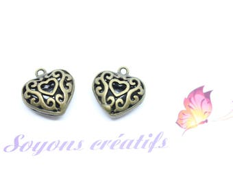 1 pendant Charm heart Bronze Ajoure 20x19mm - creating jewelry - SC75692