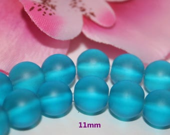 Set of 20 glass beads round blue frosted 11 mm - SC45000.