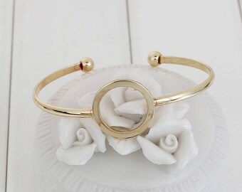 1 medium gold open Bangle bracelet personalize - creating jewelry-