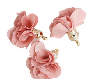 10 charms - 27x25mm - Polyester - Rose Gold tassels