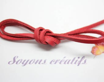 Red 3mm - creating jewelry leather strap 1 m