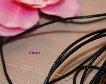 2 m of 2mm - creating jewelry black leather cord