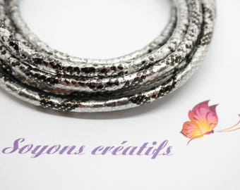 10 cm with 5mm - creating Jewelry Silver Boa leather cord