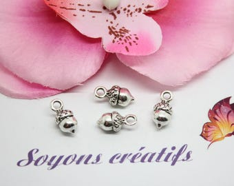 the silver 14x7mm - SC0082216 - Acorn charm 10 charms