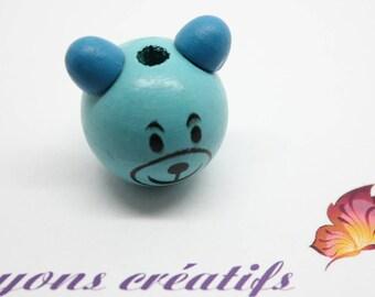 Wood bead head Pooh 27-28mm - SC75808 - blue