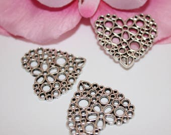 x 5 heart flower Ajoure silver 24x25mm Charm connectors