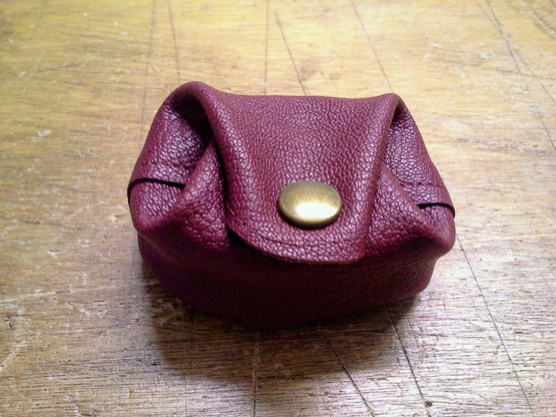 color wine Real leather purse