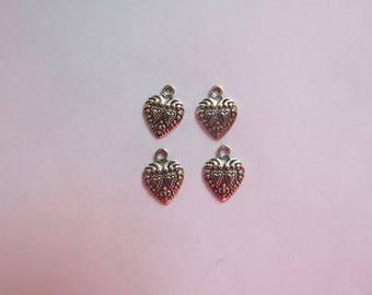 Charm heart silver 14x11mm