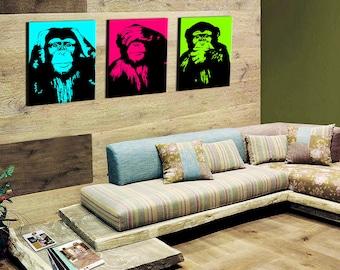 On canvas pop art triptych wise monkeys