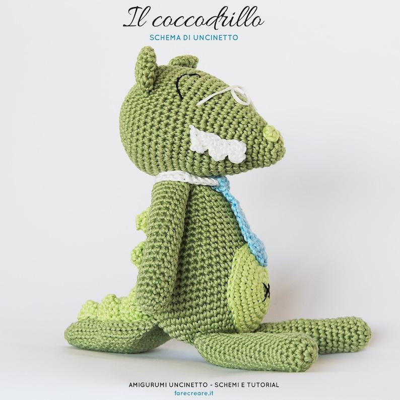 Schema uncinetto COCCODRILLO animali amigurumi  Italiano image 0