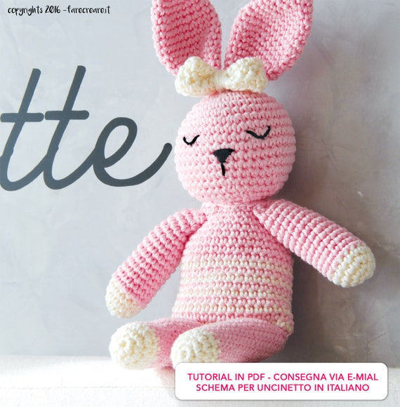 prezzo più basso sito autorizzato comprare a buon mercato Schema uncinetto CONIGLIO rosa animali amigurumi Italiano | Etsy
