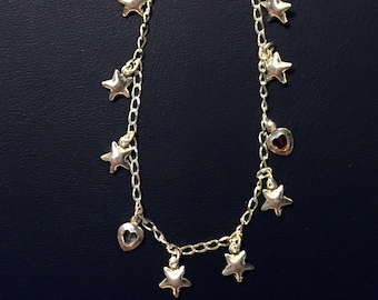 Three Types of Sterling Silver Anklets with Animals, Stars, or Hearts