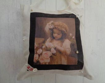 Decorative pillow for home - old Photo girl with flowers