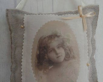"Decorative pillow for home - old Photo ""The little girl"""