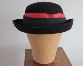 1970's Black Bowler Style Hat
